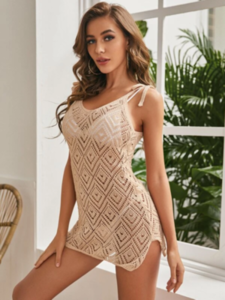 Crochet Hollow-out Tie Shoulder Cover Up